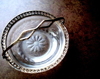Victorian style antique 1905  hand  crafted, etched  glass , small bowl with a sterling silver handle and trim.