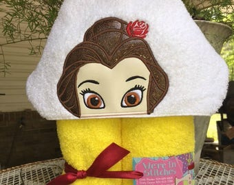Belle hooded towel, Beauty and the Beast hooded towel, pool towel, bath towel, beach towel, children's gift, birthday gift, Disney Princess