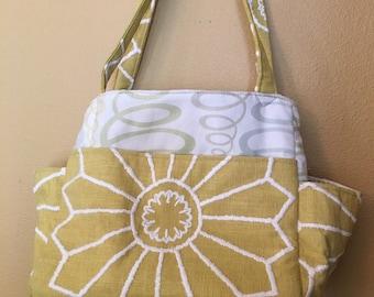 Katrina#1770, Upholstery Fabric Project Bag, Large Project Bag, Project Bag, Large Knitting Bag, Knitting Bag, Knitting Tote, Crochet Tote
