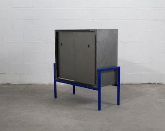 Industrial brutalist sideboard, bar cabinet