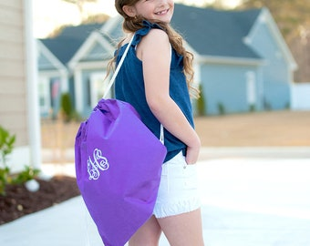 Purple Monogrammed Gym Bag, Monogram Backpack, Back to School