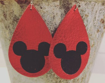 Mouse earrings, metallic red leather mouse earrings, red and black leather Mickey