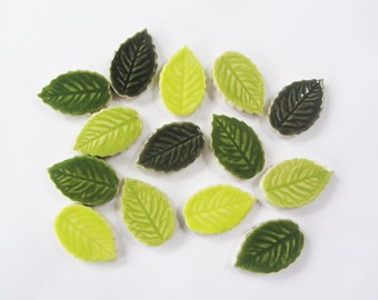 14 mosaic leaves handmade ceramic leaf tiles mosaic pieces, mosaic supplies, mosaic making