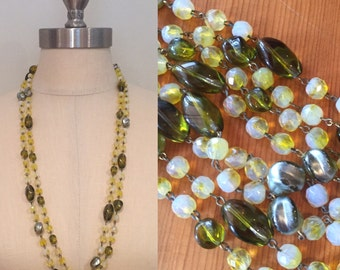 Vintage Olive Green Yellow Glass Bead Long Necklace