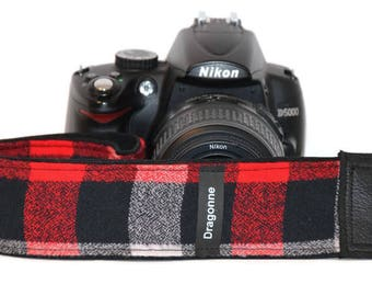 Lumberjack Style Camera Strap - Red, Black and Gray Tiles in Super Comfortable and Trendy Woolen