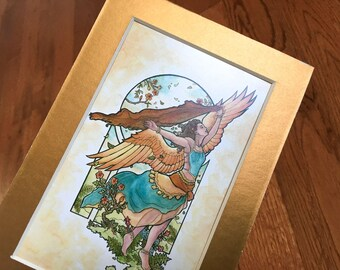 Matted 4x6 Art Print Angel of Summer Winged Goddess Seasons Belly Dancer with Scarf Fantasy Art Nouveau Seasonal Series Mucha Style