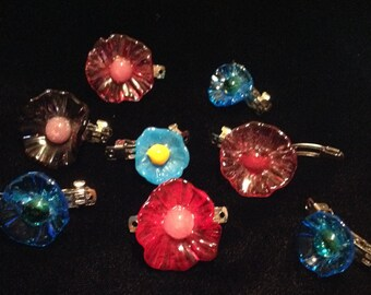 Hand blown glass flower hair jewelry assorted colors (price is for one)