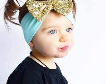 Baby Turban Headband, Gold Bow Mint Dot Baby Headband, Baby Headbands, Infant Turban