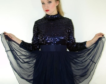 Vintage Navy Sequin and Chiffon Dress