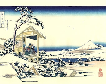 "Japanese Ukiyo-e Woodblock print, Katsushika Hokusai, ""Tea house at Koishikawa, from the series Thirty-six Views of Mount Fuji"""