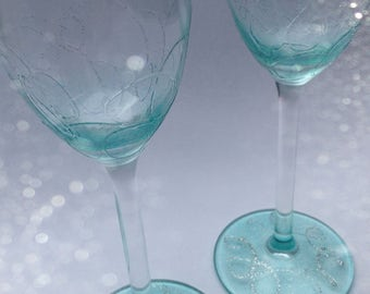 Hand painted Turquoise Sparkle Champagne Flutes