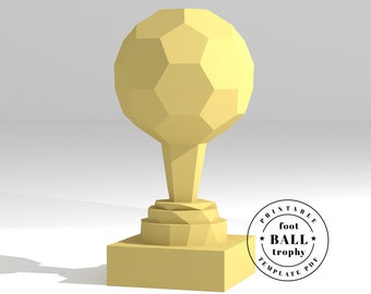 Printable DIY template (PDF).  Sports trophy. Soccer. Ball Trophy low poly paper model template. 3D paper trophy. Origami. Papercraft.
