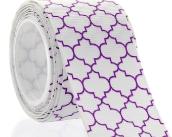 "1.5"" Purple Quatrefoil Grosgrain Ribbon - 5yds"