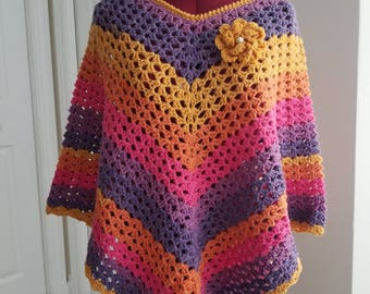 Multi color poncho, Cardigan, Sweater,  Gift for Her, Wool poncho, Shoulder warmer, New, Clothing, Crochet Capelet , Lacy Poncho, Wrap