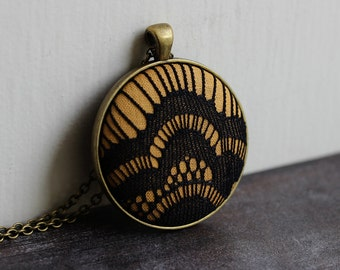 Mustard Yellow Pendant With Lace, Unique Necklace, Black Goth Jewelry, Geometric Necklace, Art Deco, Eclectic