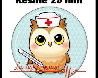 Round cabochon resin 25 mm - OWL stick (2250) - nurse, doctor, medical