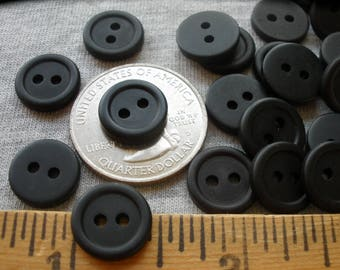 """Matte Black Tiny 12mm Buttons with rim 48 Plastic 7/16"""" (12MM 18L) Craft Stash crafts 2 hole jewlery scrapbooking bulk paper tag supply"""