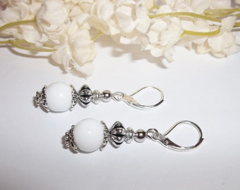 Earrings White Glass Beaded Dangle 925 Sterling Silver Leverback Lever Back Earwires Ear Wires Everyday Casual Fashion Modern wvluckygirl
