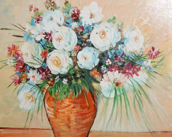 Vintage still life wild flowers oil painting