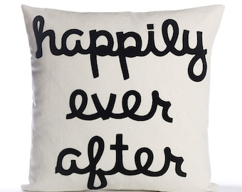 """Throw Pillow, Decorative Pillow, """"Happily Ever After"""" pillow, 16 inch, Wedding Gift, Bestseller"""