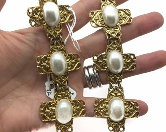 JENNIFER GIBSON JEWELLERY Vintage Huge Statement Earrings Pearl & Gilt Beverley Hamburg