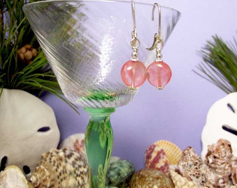 Petite Pink Tourmaline Coin Bead Dangles on Sterling Silver Leverback Ear Wires
