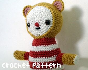CROCHET PATTERN - Amigurumi Circus Bear - PDF Instant Download - Baby Shower Gift