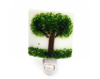 Night Light, White Green and Brown Art Glass, Tree Design