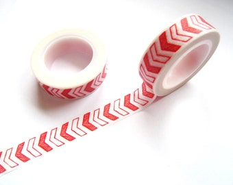 Red and White Arrows Washi Tape - Planner Washi Tape - Red and White Arrows Masking Tape - 10 mt - Decorative Tape - Arrows Planner Tape