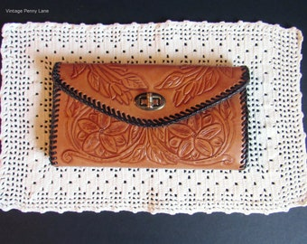 Vintage Mexican Hand Tooled Leather Wallet Clutch, Boho / Bohemian Floral Accessories