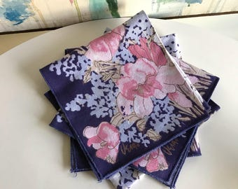Vintage Vera Purple Flower Napkins Set Of Four