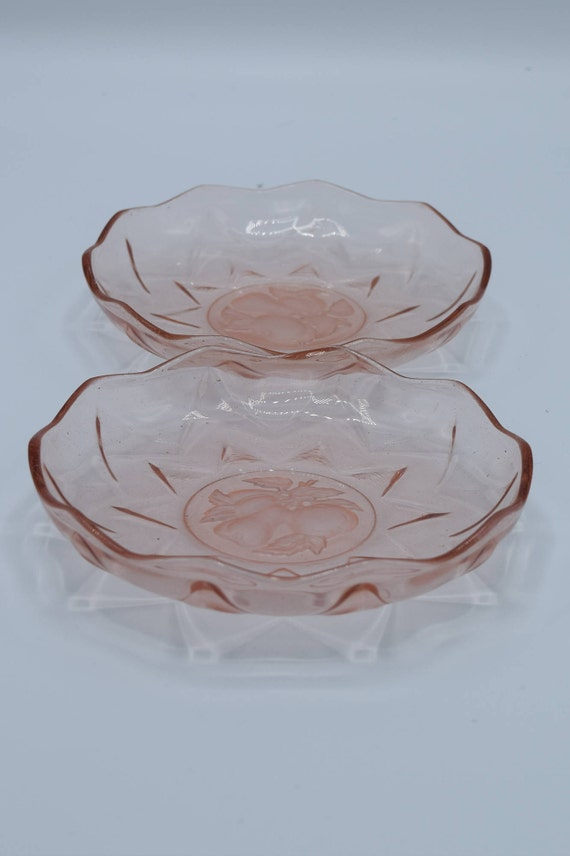 Pink Depression Glass Fruit Bowls Set of 2 Vintage Small Pink Glass Sherbert Dishes Compote Relish Bowls Pear Apple Motif Gift for Her