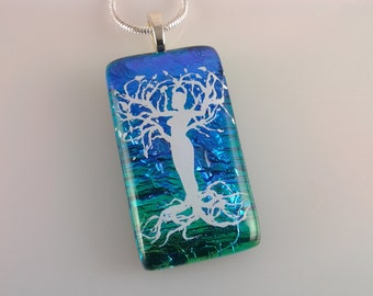 ON SALE - Dichroic Dryad Pendant, Fused Glass Jewelry, Tree Spirit Dichroic Necklace