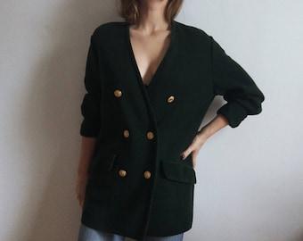 Emerald Double Breasted Cardigan // Virgin Wool Sweater // Vintage Horst Basler