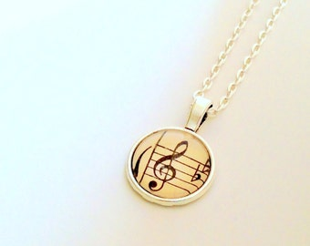 "NEW - Vintage Sheet Music G Clef -18"" Ball chain - 18mm Glass Cabochon Pendant - perfect gift for Music Teacher"