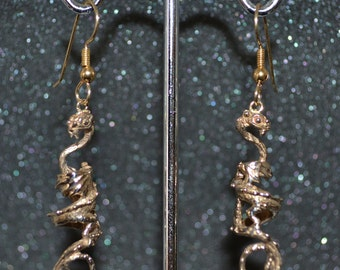 Bronze Long Dragon Earrings