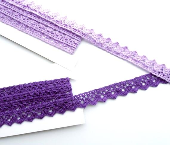 """2.5 yds Purple crochet trim 1"""". Lavender cotton edging 2.5 cm. Cotton purple lace trim. Lilac cotton trim. Lavender cotton trim. UK Seller"""