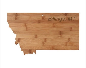 Personalized Montana Cutting Board - Montana Shaped Bamboo Cutting Board Custom Engraved - Wedding Gift, Couples Gift, Housewarming Gift