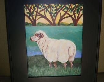 Sheep w/ Trees in grass-  Original Folk Art Painting Framed