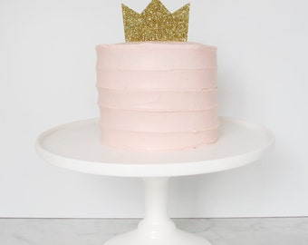 Gold glitter crown perspex cake topper decoration