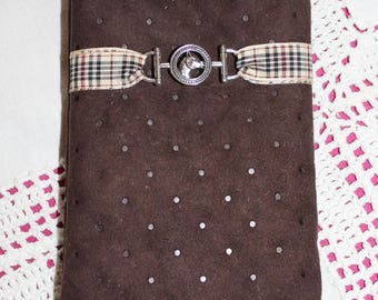 Phone case / sunglasses with horses pattern silk lined padded brown suede