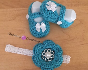 Newborn Mary Janes.. Flower headband.. Turquoise... Ready to ship