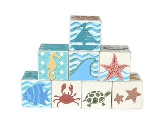 Nautical Nursery Under the Sea Wooden Blocks