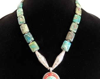 Tibetan Sterling Silver Turquoise Coral Necklace, Coral and Turquoise Pendant, Large Turquoise Bead Necklace, Vintage Tibetan Silver Beads