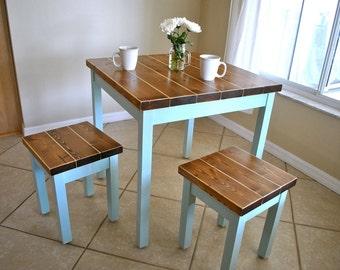 Farmhouse Breakfast Table or Dining Table Set with or without Stools - Farmhouse Table & Farmhouse Breakfast Table or Dining Table Set with or without
