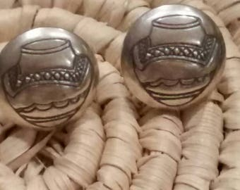 Sterling Silver Navajo Water Vessel Post Earrings