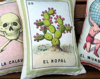 El Nopal Loteria Cactus Pillow Cover circa 1920 - Mexican Loteria Home Decor, Day of the Dead, Dia de los Muertos, Mexican Cactus Cushion