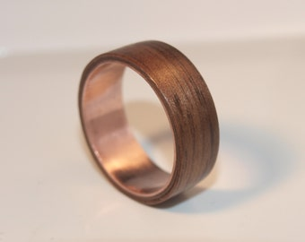 Wooden Rings - Bentwood Forged Copper and Walnut Rings - Mens Wood Rings, Womens Wood Rings, Wood Engagement Rings, Wood Wedding Bands