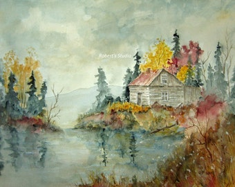 Archival Print Of Original Watercolor landscape painting, autumn landscape, fall painting, lake cabin, country landscape, scenic, nature