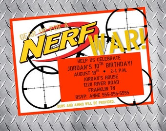 NERF GUN Party Invitations Digital file by PrintingTheMoon More